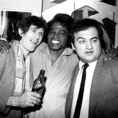 Studio 54 was an Animal House! Here, Keith Richards, James Brown and John Belushi party together in February 1980 at Studio 54 Studio 54, James Brown, Keith Richards, Liza Minnelli, Tony Curtis, Chevy Chase, Johnny Rotten, Johnny Depp, Fred Astaire