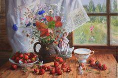Купить картина Лето на столе-- автор В.Жданов - клубника, букет цветов, летний…