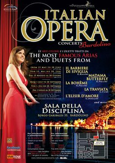 A fantastic selection of the most famous arias and duets of Italian Opera, from the repertory of great masters such as G. Puccini, G. Verdi, Donizetti, Rossini and Mozart.   IncludingThe Barber of Seville, Tosca, Madam Butterfly, The Elixir of Love, La Traviata, and more.    1st OctoberCON