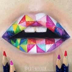 Juicy lips | katebelchik.com | #art #drawing #katebelchik #lips #juicy #pastel #pencils #bright #colors #geometry
