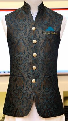 Get customized mens stylish waistcoat for your mehndi occasion, Exclusive designs of awami waistcoats in Jamawar & Tropical fabric available at Uomo Attire-Luxury Bespoke Menswear. Indian Wedding Suits Men, Sherwani For Men Wedding, Mens Indian Wear, Wedding Dress Men, Indian Men Fashion, Waistcoat Men Wedding, Sherwani Groom, Blazer Outfits Men, Stylish Mens Outfits
