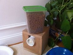 Automated cat feeder. Using tunell's idea as a starting point, I documented/experimented with different designs.  This is the result of many trials... This is semi-parametric; mostly hardcoded numbers all over the place as I tweaked and got lazier.https://www.reddit.com/r/arduino/comments/2z8mif/need_to_source_an_auger_for_a_pet_feeder_any_ideas/?utm_source=amp&utm_medium=comment_list