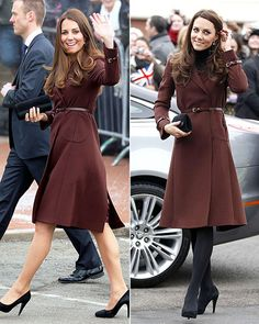 "Kate Middleton's Recycled Outfits - Brown Coat: The Bucklebury native kept warm in the Hobbs ""Celeste"" coat during an appearance in Liverpool in February 2012, before repating it in March 2013 visit while in Grimsby, England."
