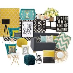 Blue Yellow Living Room by amischaheera on Polyvore featuring polyvore, interior, interiors, interior design, home, home decor, interior decorating, Ethan Allen, CB2 and Cyan Design