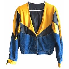 Yellow Leather Denim Jacket Oversized cropped vintage mens womens levis pockets 80s 90s v-neck snap button rock n roll patch work trim rad by VELVETMETALVINTAGE on Etsy