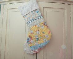 Christmas Stocking, Primitive upcycled Quilt Stocking