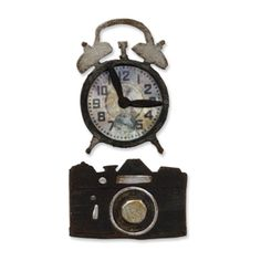 Sizzix Movers & Shapers Magnetic Die Set 2PK - Vintage Alarm Clock & Camera Set $15.99