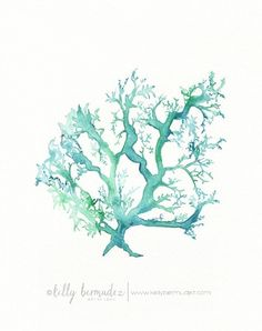 No.1 Sea Coral / watercolor print / teal / light green / aqua / sea / ocean life