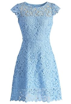 Vestido azul claro de renda | Blue lace print dress