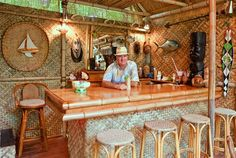 Items similar to DIY plans and materials to build Custom Bamboo bungalow 16 with loft, porch and bar on Etsy Bamboo Restaurant, Deco Restaurant, Bamboo Roof, Bamboo Bar, Outdoor Tiki Bar, Outdoor Cafe, Bamboo House Design, Tiki Bar Decor, Tiki Lounge