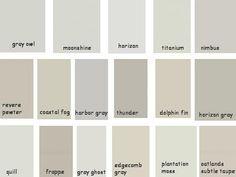 Benjamin Moore - Gray Owl, Horizon, Titanium, Moonshine, Revere Pewter, Coastal Fog, Edgecomb Gray, Harbor Gray, Horizon Gray, Nimbus; by frankie