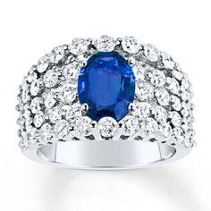 Natural Sapphire Ring 2-1/5 ct tw Diamonds 14K White Gold