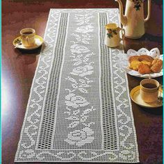 Elegant Rose Motif Filet Crochet Table Runner - Crochet Filet