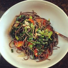 Black Bean and Veggie Noodles | via OneBeet
