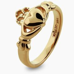 Gold Claddagh Rings - Love, Loyalty, Friendship marks the meaning behind the Claddagh Ring. Wear the Claddagh to honor a friendship. Give the Claddagh to celebrate your heritage. Diamond Claddagh Ring, Claddagh Rings, Yellow Engagement Rings, Gold Earrings Designs, Ring Stores, Rings Cool, Yellow Gold Rings, Beautiful Rings, Rings For Men