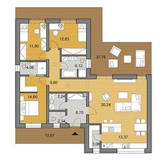 House plans - choose your house by floor plan Bungalow Floor Plans, Small House Floor Plans, Apartment Floor Plans, 3 Bedroom Floor Plan, 2 Bedroom House Plans, L Shaped House Plans, Greece Design, Independent House, Duplex House Design