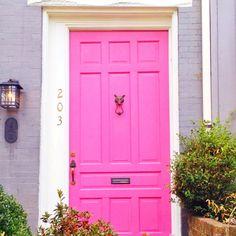 Pink door, gold fox knocker