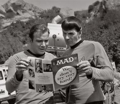 Shatner and Nimoy look at Mad Magazine between scenes