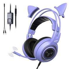 SOMIC Purple Stereo Gaming Headset with Mic for Xbox One, PC, Phone, Detachable Cat Ear Noise Reduction Headphones Lightweight Computer Gaming Headphone Self-Adjusting Gamer Headsets Cute Headphones, Gaming Headphones, Best Gaming Headset, Gaming Computer, Kawaii Accessories, Desktop Accessories, Noise Reduction Headphones, Ps4, Pc Gaming Setup