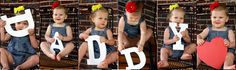 """My Father's Day gift to Joe.  I had seen photos of a baby girl on Pinterest who used big letters to spell out """"One"""" on her first birthday and used that as my inspiration for this.  I framed the photos in a six frame opening, which allowed three photos each of Attley and Avery.  I think it turned out GREAT!"""