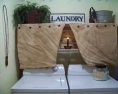 Such a great way to hide those basic, white shelves in my laundry room! Finding the perfect, homespun fabric will be fun too
