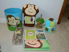Kids bathroom...6 pc Monkey Bathroom Accessory Set. Curtain, Hooks, washcloths, etc. NEW