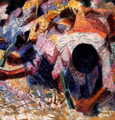 "alongtimealone: ""Umberto Boccioni The Street Pavers 1914 Oil on canvas, 100 x 100 cm The Metropolitan Museum of Art "" Italian Painters, Italian Artist, Umberto Boccioni, Italian Futurism, Futurism Art, Oil On Canvas, Canvas Art, Art Moderne, Klimt"
