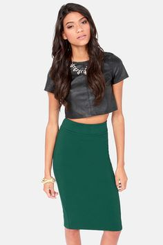 Cutting Class Hunter Green Pencil Skirt at LuLus.com!  lulus  holidaywear  Pencil 679d816d3