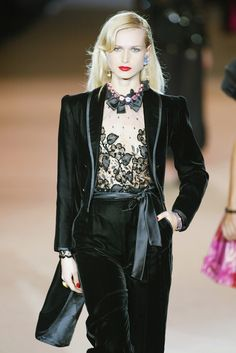 """YSL's Spring Couture 2002 - """"Where there's SMOKE there's FIRE."""" """"Le Smoking"""" Redux - This velour smoking tuxedo with a detailed lace blouse set the standard for years to come of what defines """"elegance."""""""