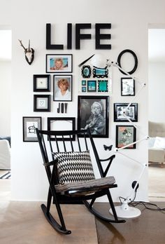 """How great is this LIFE #gallery wall from a Norwegian store's website? This is what it's all about, right?  But, since """"Life changes..."""", you might want to update it now & then. Switch out the colored graphics to greet the seasons. (If you like the idea of changeability, check out EasyGallery® frames at changeofart.com)"""