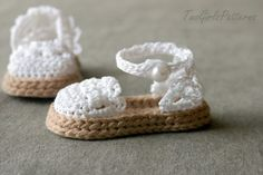 Crochet Pattern for Baby Espadrille Sandals by TwoGirlsPatterns