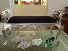 Ornate Black and Silver Bench available for hire at Wedstyle. www.wedstyle.com.au #wedding #furniture #bench #lounge #black #gold #oldfashioned