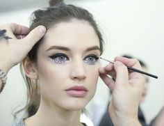 Major makeup inspo backstage at Chanel….gimmie those glittery glimmer eyes!