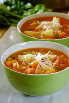 Easy #Minestrone: A classic Italian combination of beans, pasta and vegetables in a tomato broth. Good food for the soul!