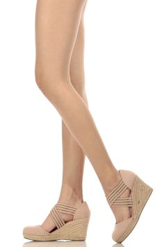 5716fec7d29ce8 Nude Cross Strap Faux Suede Espadrille Wedges   Cicihot Wedges Shoes Store Wedge  Shoes