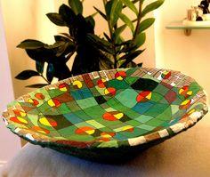 Harrogate stray in Autumn papier mache bowl by AmeliaGreenHeart, via Flickr