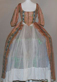 Rare 18th C 1770'S Vibrant Striped Floral Silk Open Robe Gown W Linen Lining | eBay