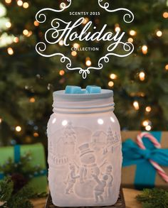 Scentsy Holiday Collection.  Let it Snow Mason Jar Warmer Available from http://ldnwicklesscandles.co.uk  #Bougies #Candles