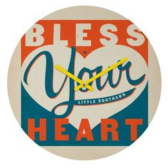 Deny Designs Bless Your Heart Wall Clock Anderson Design Group Round Clock Multi-Colored Home Decor Clocks Wall Clocks