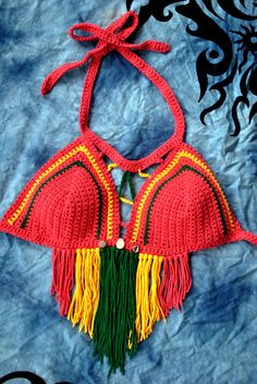 Summer 2015 Rasta Jamaican Babe Bikini Festival Halter Top with Triangle Fringe Tassel and Contrast Peekaboos with Cowrie Shell and Sun and Moon Beads www.loandbeholdshop.etsy.com