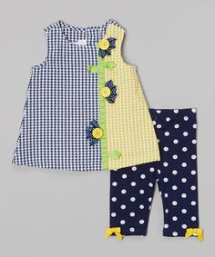 Another great find on Navy Gingham Daisy Dress & Polka Dot Leggings - Infant by Gerson & Gerson Toddler Dress, Toddler Outfits, Baby Dress, Kids Outfits, Little Dresses, Little Girl Dresses, Girls Dresses, Polka Dot Leggings, Baby Frocks Designs