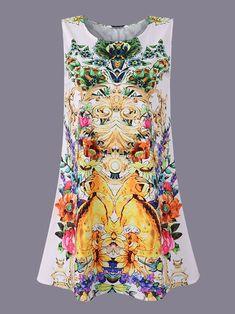 Pattern Printed Sleeveless O-Neck Mini Dresses For Women