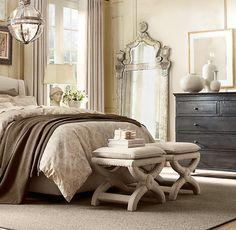 Restoration Hardware bedroom....black furniture with neutral decor