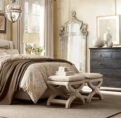 Restoration Hardware bedroom....black furniture with neutral decor
