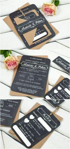 Rustic Chalkboard wedding invitation bundle
