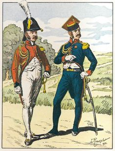 French; Imperial Guard, 2nd Regt Chevau-Legers Lanciers, Officers Tenue de Société & Tenue de Quartier 1811