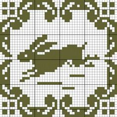 Running Rabbit Chart with a beautiful square border- these would make great pockets!