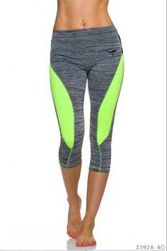 Αθλητικό κολάν μήκους 3/4 - Γκρι Νέον Κίτρινο Pants, Fashion, Moda, Trousers, Fashion Styles, Women Pants, Women's Pants, Fashion Illustrations, Trousers Women