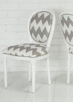 Chevron Print Louis Dining chair -- inspiration for office chair redo (have similar chair already)