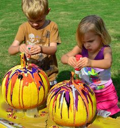 This could be a fun activity for children, Instead of carving pumkins - paint them!  Children can get creative and paint their pumkin any way they please.